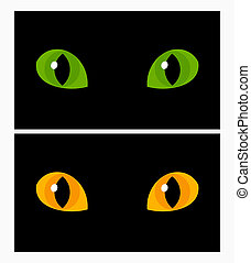 Cat eyes - Yellow and green cat eyes. Vector illustration