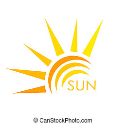 Sun label - Sun symbol. Abstract vector illustration