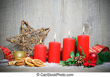 four advent candles burning - christmas decoration...