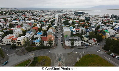 reykjavik panoramic view - reykjavik skyline from the top of...