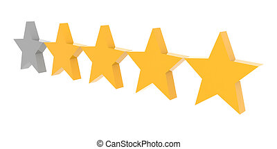 Four stars rating Concept 3D illustration