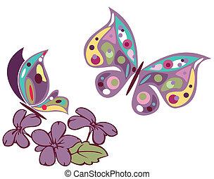 蝴蝶, 花,  3
