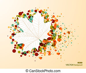 Autumn leaf shape with colorful transparent bubbles background. EPS10 file with transparency for easy editing.