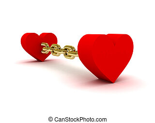 Two hearts linked by golden chain.