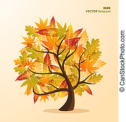 Fall season tree concept with leaves EPS10 file background.