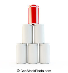 pyramid of cans with one highlighted as uinque in red -...