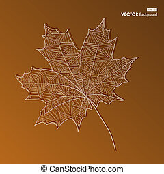 Hand drawn vintage leaf with small lines inside. Autumn season concept background. EPS10 Vector file in layers for easy editing.