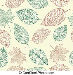 Hand drawn tree leaves seamless pattern background. Autumn season concept. EPS10 vector file with transparency for easy editing.