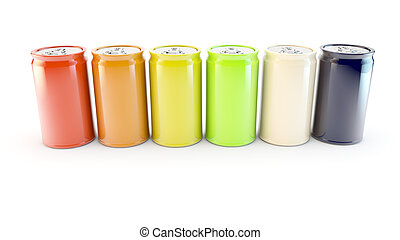 row of different colours or flavours of fizzy soda drink -...