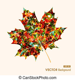 Fall season colorful transparent leaf geometric elements....