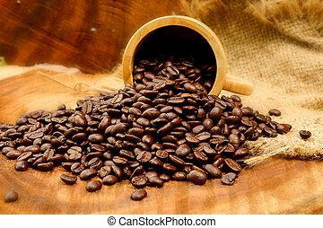 assado, café, feijões, madeira, (Arabica, coffee)