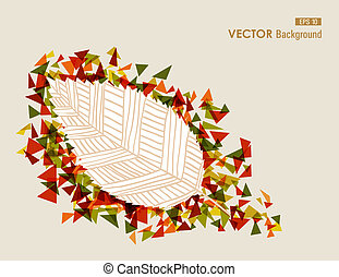 Hand drawn vintage leaf with geometric elements. Autumn season concept background. EPS10 Vector file in layers for easy editing.
