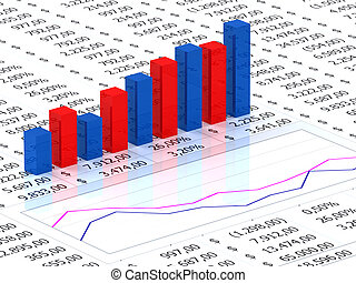 Spreadsheet with blue graph - Spreadsheet with blue and red...