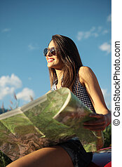 Travel destination - Young beautiful woman wearing...