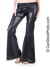 Black leather bell-bottomed trousers