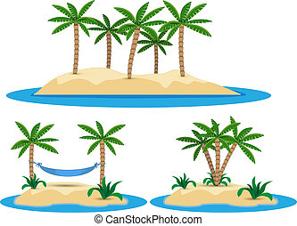 illustration of isolated island with palm trees