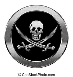 Pirate icon silver, isolated on white background.