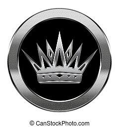coroa, ícone, prata, isolado, branca, fundo
