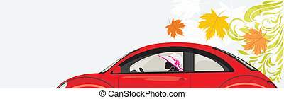 Driving woman a red car