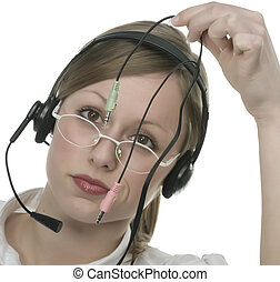 Beautiful Customer Representative with headset smiling...