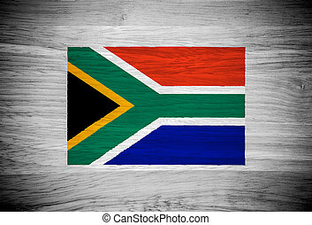 South Africa flag on wood texture