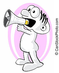 Man shouting your news - Funny Cartoon with a megaphone in a...