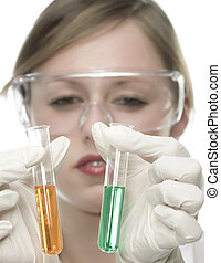 oung woman in laboratory with test tube