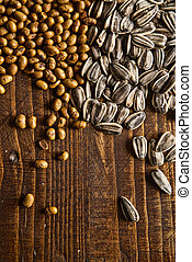 Grains - Cereal grains on wooden table