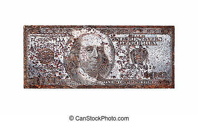 Old printing plate for 100 dollar, isolated on white...