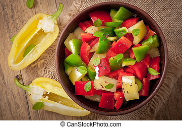 salad of sweet colorful peppers with olive oil