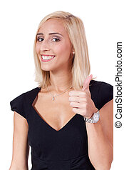 young attractive smiling business woman isolated