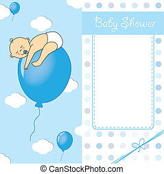 Child sleeping on top of a balloon. baby boy birth card