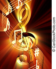 Notes - Shining 3d rendered golden music notes