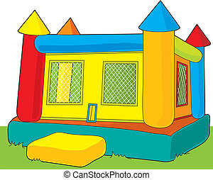 Bounce Castle - A colorful bounce castle set outdoors on...