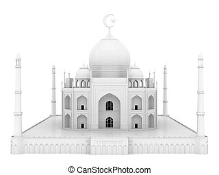 beautiful white mosque on the isolated background