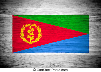 Eritrea flag on wood texture