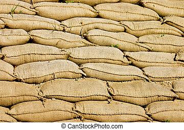Sandbags - A Pile or Wall of Sandbags