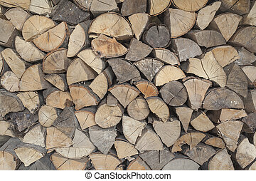 Fire Wood - Fire wood pile closeup choped to triangles ready...