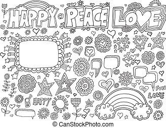 Happy Peace Love Flower Doodle set