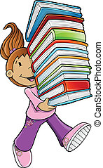 Girl Student Carrying Books Vector Illustration
