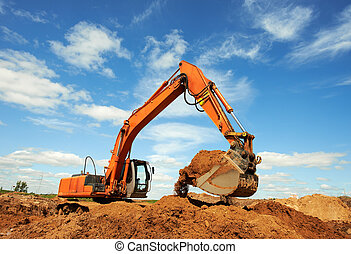 excavator loader at work - loader excavator machine doing...