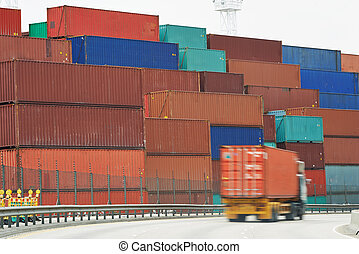 Cargo container boxes in dock terminal - Lorry handling...