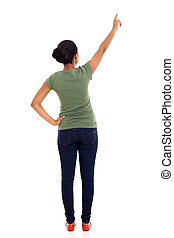 rear view of african american woman pointing empty space