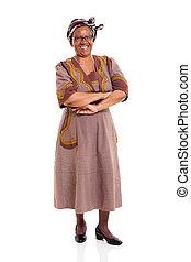 Sênior, africano, mulher, braços, cruzado