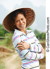 chinese agricultural farm worker - Portrait of smiling...