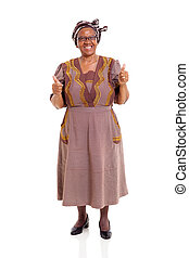 elderly african woman giving thumbs up on white background