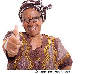 Maduro, africano, mujer, feliz, sonrisa, Dar, pulgares,...