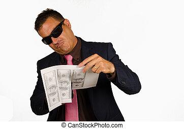 Forging money - Mafia type of guy forging money, a concept