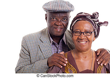 senior african couple portrait - close up portrait of senior...