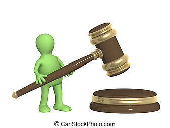Puppet with judicial gavel